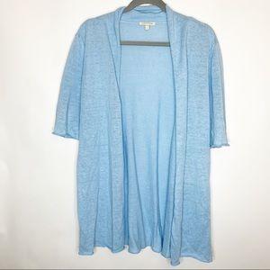 Eileen Fisher 100% Linen Blue Knit Cardigan Large
